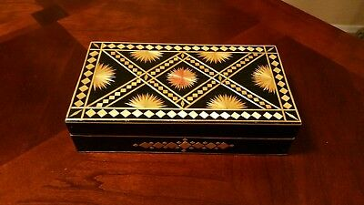 VINTAGE Moroccan Marquetry inlay Rectangular Jewelry Box Handmade Wood Case