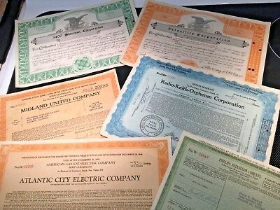 Vintage 1930s and 1940s lot of 6 obsolete stock certificates