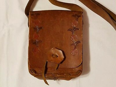 VTG Western Americana Apparel Hand Tooled Leather Saddle Bag Cross Body Purse