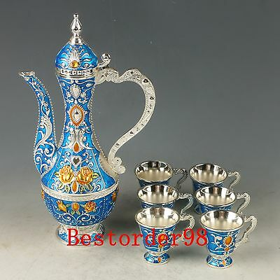 A Set Chinese Exquisite Cloisonne Handwork Carved Flower Flagon & Cups CC0619