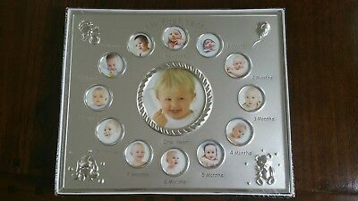 """My First Year"" Monthly Baby Photo Picture Frame Unisex Boy or Girl."