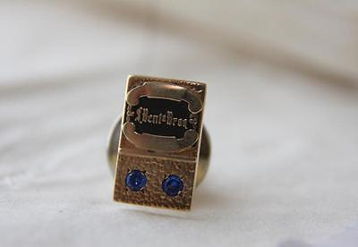14k Yellow Gold & Sapphire Bent Brothers Service Pin Gardner Ma Furniture Co