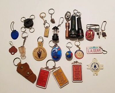 Lot Of  24 Assorted Keychains - some advertisements,  some funny,  travel & more