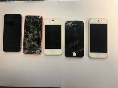 Lot of 5 iphones (4/4s, 5/5c/5s) *Unknown GB & Carrier** For Parts or repair*
