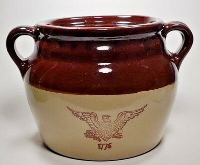 Monmouth maple leaf brown crock Vtg stoneware bean pot eagle USA no lid handles