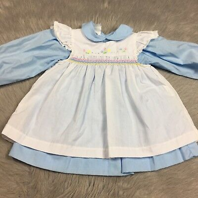 Vintage Baby Girls Blue White Floral Smocked Pinafore 2 Piece Ruffle Dress