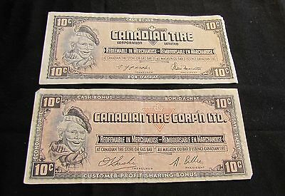 Lot of 2 Canadian Tires 10 Cent Redeemable in Merchandise Notes Vouchers