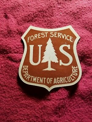 """vintage US Forest Service aluminum decal emblem almost 3"""" tall"""