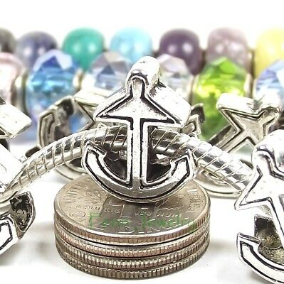 Anchor European Charm Add a Bead for Antique Silver Interchangeable Bracelet