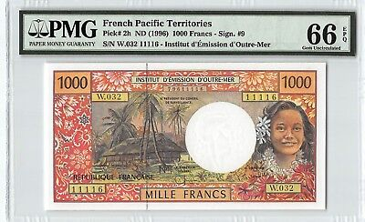 French Pacific Territories ND (1996) P-2h PMG Gem UNC 66 EPQ 1000 Francs