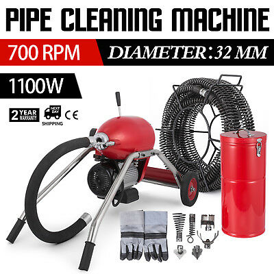 1100W Electric Drain Auger Pipe Cleaning Machine Safe Drain Clog Powerful GREAT