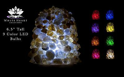 """6.5"""" Citrine Cluster Crystal Lamp #1 Cord Clip And 9 Color LED Bulbs + FREE GIFT"""