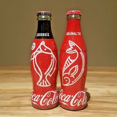 2018 Coca Cola Turkey Empty Glass Turkish Bottle Fish Design Limited Set Of 2