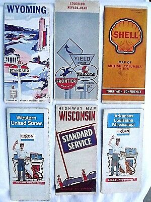 VINTAGE LOT OF OIL COMPANY ROAD MAPS/ Shell,Standard,Frontier,Exxon
