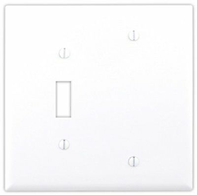 Cooper Wiring Devices 4171W Decora Wall Plate, 2G 1 Blank 1 Toggle Switch, 5 Pk