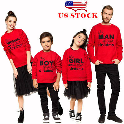 US Family Matching Outfits Mens Womens Mom Dad Kids Christmas Sweatshirt Hoodie