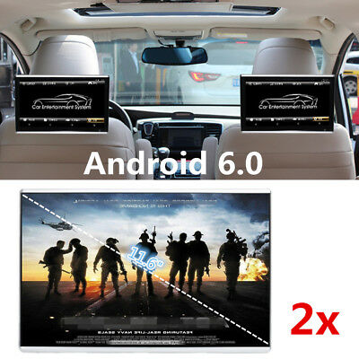 "2x 11.6"" HD Android 6.0 Car Rear Seat Radio Monitor Touchpad Wifi HDMI Bluetooth"