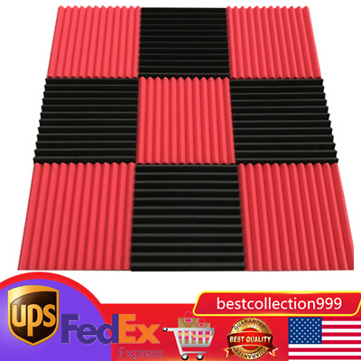 96x 12*12 Soundproofing Acoustic Wedge Studio Foam Wall Panels Sound Absorption