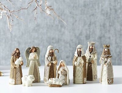 Traditional Nativity Set Natural Set 9 White Beige Christmas Time Figurines