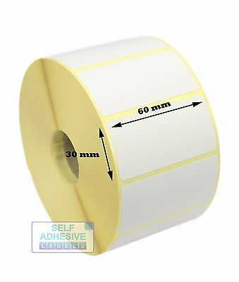 60mm x 30mm Direct Thermal Labels, 2,000 labels for Zebra printers. Free P&P