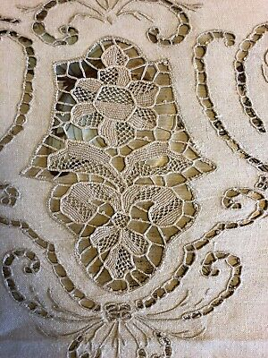 """Vintage Linen hand Embroidered  madeira Lace Banquet Table Cloth long 104"""" X 65"""""""