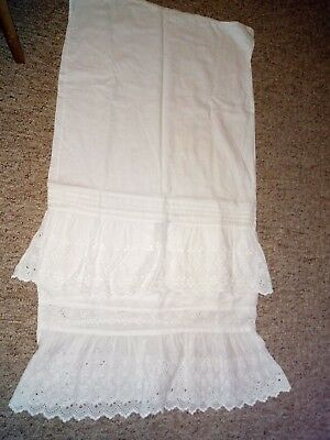 Antique Victorian White Frilly Pillowcase embroidered embroderie anglaise