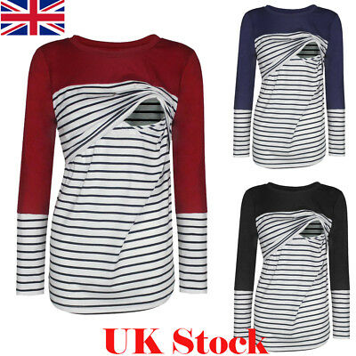 Womens Pregnant Maternity Clothes Striped Nursing Breastfeeding Top Shirt Blouse