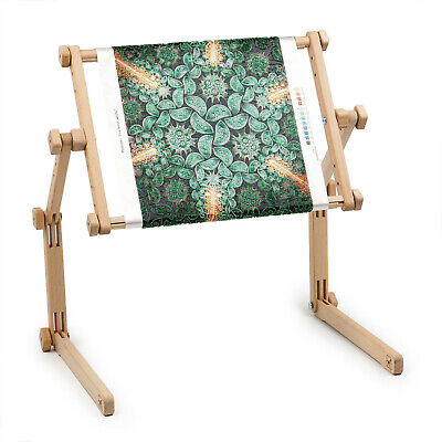 Needlework Table and Lap Hands-Free Stand with Adjustable Frame Organic wood