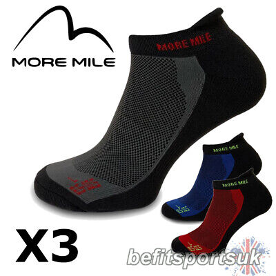 More Mile Mens Womens Ladies Pace Ankle Running Sports Gym Cushioned Socks 3