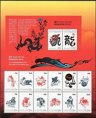 CHRISTMAS Is, 2012 YEAR OF THE DRAGON ZODIAC SHEETLET MNH