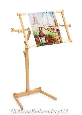 Needlework Floor stand Adjustable Frame Made of organic beech Crossstitch holder