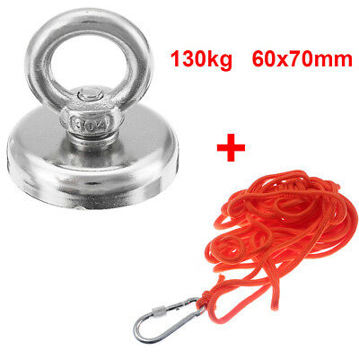 130kg Pull Fishing Treasure Hunting Neodymium Recovery Magnet + 10 Metre Rope UK