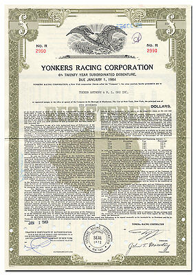 Yonkers Racing Corporation Bond Certificate (Horse Racing, Empire City Casino)