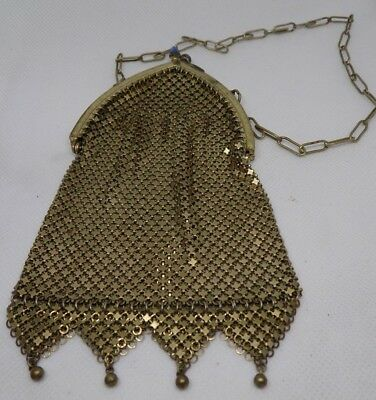 Vintage 20s Art Deco Gold Tone Mesh Purse Blue Glass Clasp Cathedral Frame