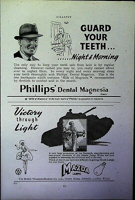 Retro 1940's Advertising - Small Page of Mixed Ads - Vintage Adverts - 109/33