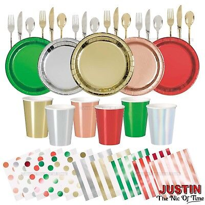 Christmas Birthday Foil Party TABLEWARE Disposable Solid Colours Events Catering