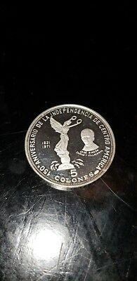 1971 EL SALVADOR 5 COLONES PROOF SILVER COIN collectible old antique