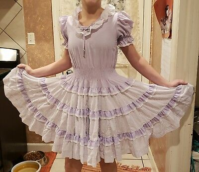 Ladies 1 Piece Partners Please Purple & White Striped Square Dance Dress Size 8