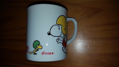 Vintage Touchdown Snoopy Woodstock Coffee Cup Another Determined Production