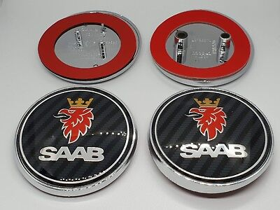 SAAB Carbon Fibre Front & Rear Badge Set 68mm 93 95 9-3 9-5 Aero 2003-2010