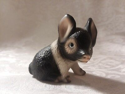 Vintage Harvey Knox, Porcelain Piglet Figurine, Black and White.