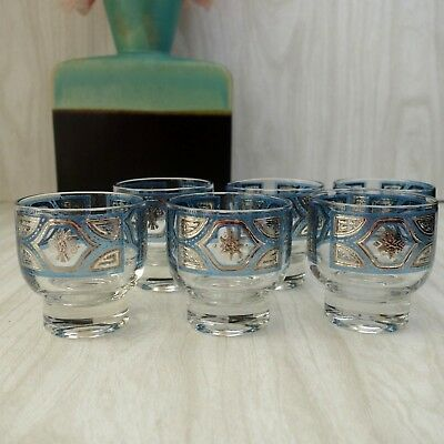 (6) Culver Blue & Silver Scroll Footed Rocks Glasses | Rare Pattern Mid Century