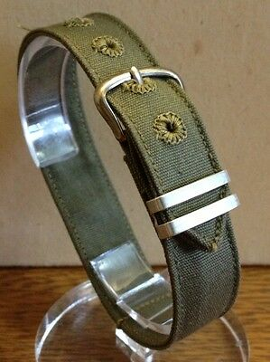 "1940's USA MILITARY ISSUE Watch BAND 1 piece WWII WW2 NOS 9/16"" (14.2mm) BRITE"