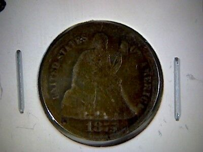 1875cc  LIBERTY SEATED DIME, LEGEND OBVERSE , cc ABOVE  BOW , OLD SILVER DIME,