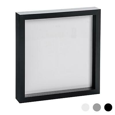 Box Picture Frame Deep 3D Photo Display 10x10 Inch Square Standing Hanging Black
