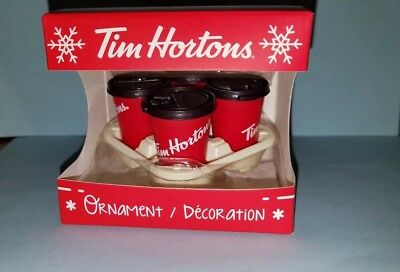 New 2018 TIM HORTON'S Coffee Takeout Carryout TRAY & red CUPS Christmas ORNAMENT