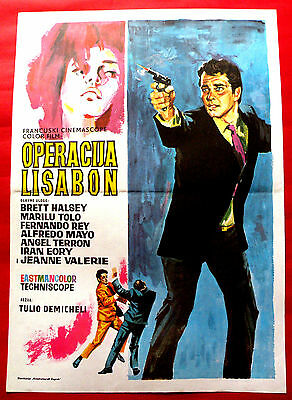 Espionage In Lisbon 1965  Brett Halsey Fernando Rey Unique  Exyu Movie Poster