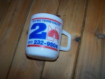 Vintage WTWO Milk Glass Cup Mug NBC Channel 2 TV Television TERRE HAUTE INDIANA