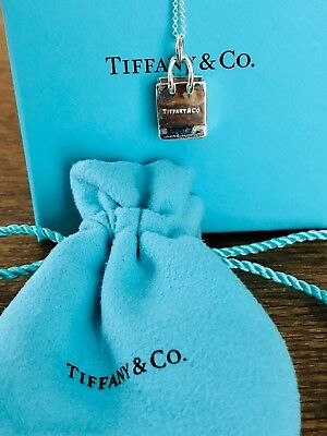 "Tiffany & Co Sterling Silver TIFFANY & CO Shopping Bag 16"" Pendant"