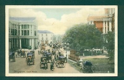 SINGAPORE,COURT HOUSE & TRAFFIC,vintage postcard